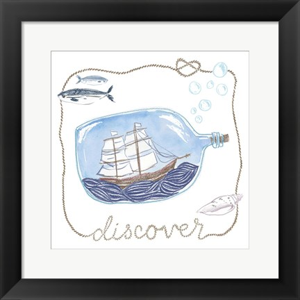 Framed Ship in a Bottle Discover Print