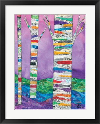 Framed Multicolored Birch Tree I Print