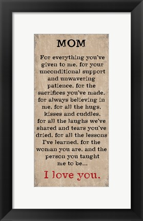 Framed Mom I Love You 4 Print