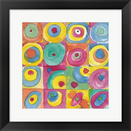 Framed Circles Bright Print