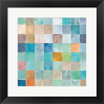Framed Color BLock Blue Story Print
