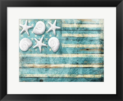 Framed Coastal American Flag Print