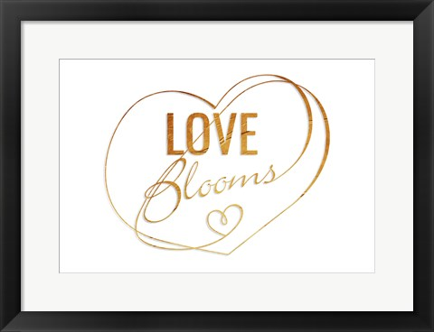 Framed Love Blooms Gold Print