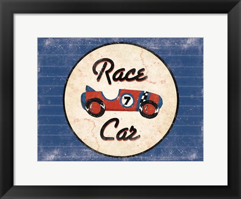 Framed Race Car Blues Print