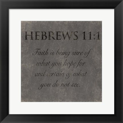 Framed Faith Hebrew Print