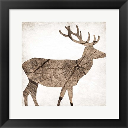 Framed Brown Wood Deer Print