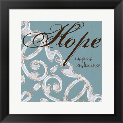 Framed Crackle Filigree Hope Print