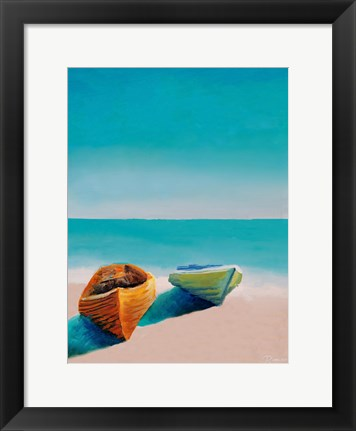 Framed Beach Boats Print