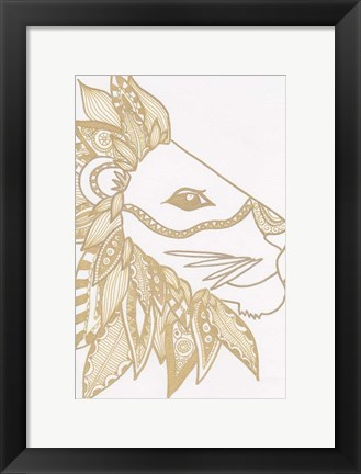 Framed Lion Gold Print