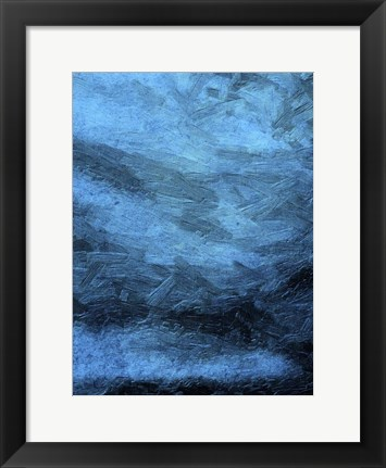 Framed Indigo Bruch Strokes Abstract Print