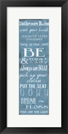 Framed Bathroom Rules Blue White Print