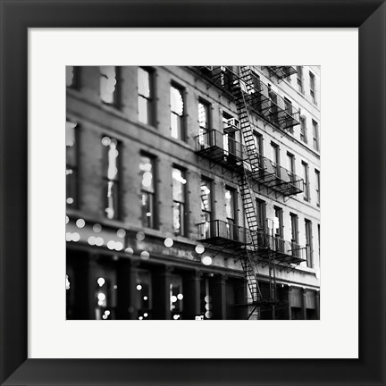 Framed Soho Buildings BW Print