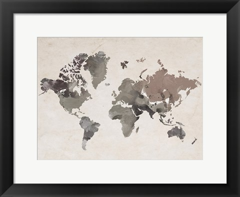 Framed Watercolor Map Sepia Print