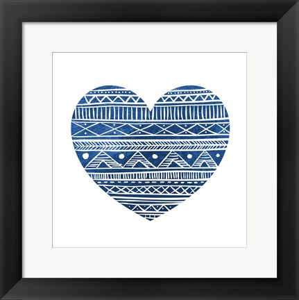 Framed Indigo Tribal Heart 1 Print