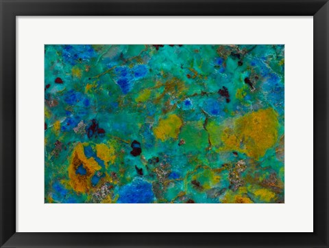 Framed Blue Cliff Chrysocolla Print