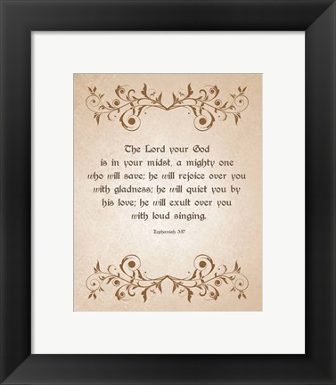 Framed Zephaniah 3:17 The Lord Your God (Brown) Print