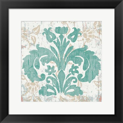 Framed Damask Stamp III Print