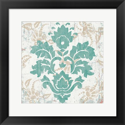 Framed Damask Stamp VI Print