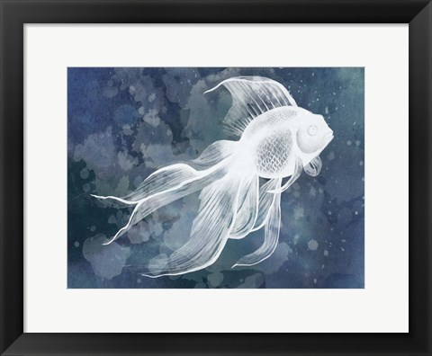 Framed Indigo Fish II Print