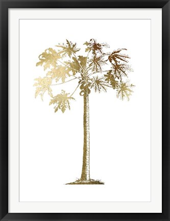 Framed Gold Foil Tropical Palm I- Metallic Foil Print