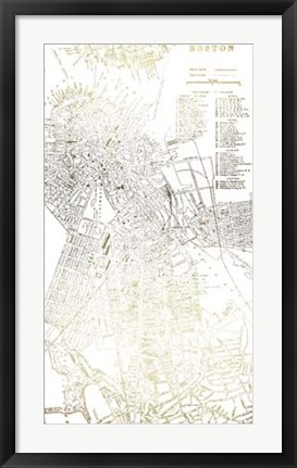 Framed Gold Foil City Map Boston- Metallic Foil Print