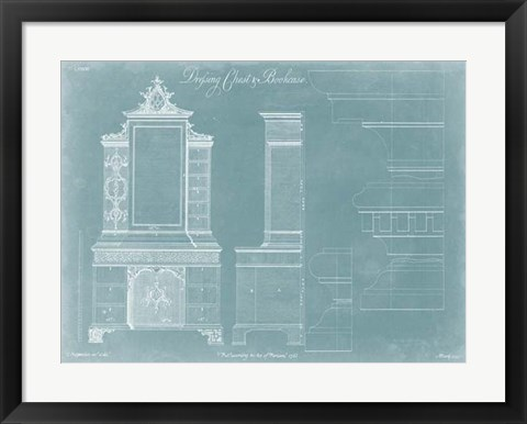 Framed Chippendale Chest & Bookcase Print
