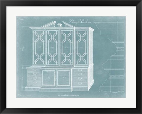 Framed Chippendale Library Bookcase II Print