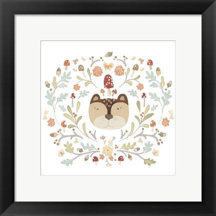 Framed Whimsical Woodland Faces I Print