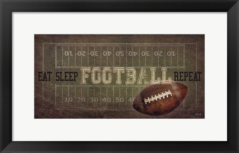 Framed Eat, Sleep, Football, Repeat Print