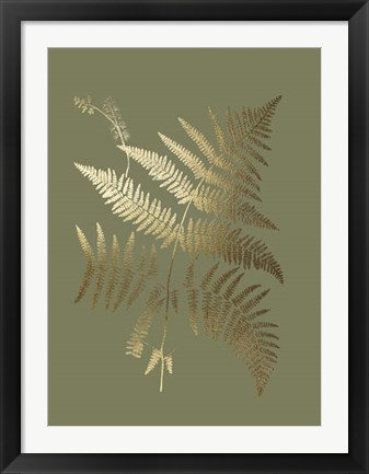 Framed Gold Foil Ferns I on Mid Green - Metallic Foil Print