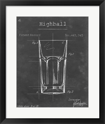 Framed Barware Blueprint II Print