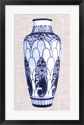 Framed Blue & White Vase I Print