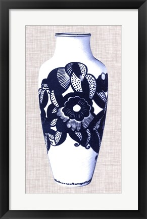 Framed Blue & White Vase III Print