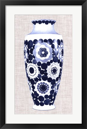 Framed Blue & White Vase V Print