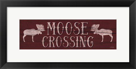 Framed Moose Crossing Print