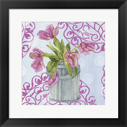 Framed Garden Gate Flowers III Print