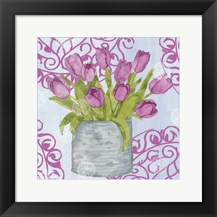 Framed Garden Gate Flowers IV Print