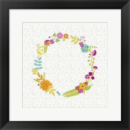 Framed Girly Wreath I Print