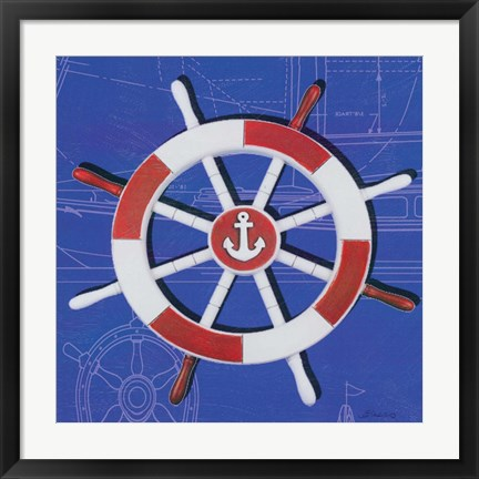 Framed Captain's Wheel I Print