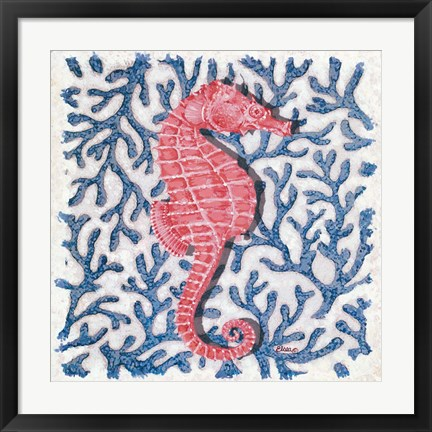 Framed Seahorse and Coral I Print