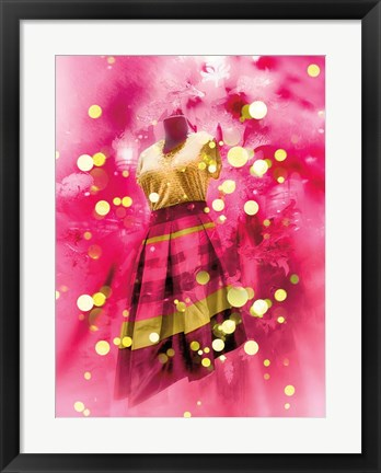 Framed Pink and Gold Dress Print