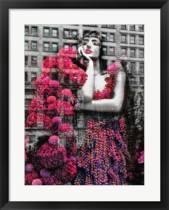 Framed Lady on Building Print