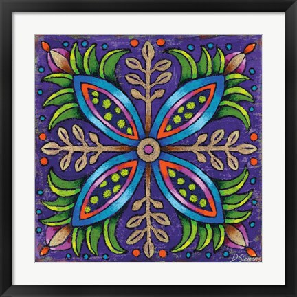 Framed Mandala Blue Pods Print