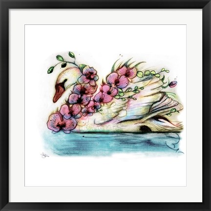Framed Swan Orchid Print