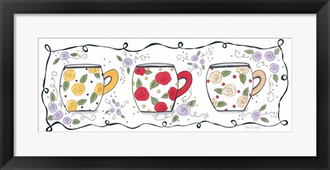 Framed Three Floral Mugs Print