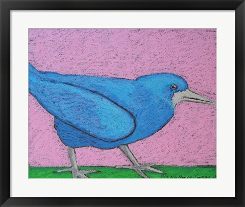 Framed Colorful Blue Bird Print