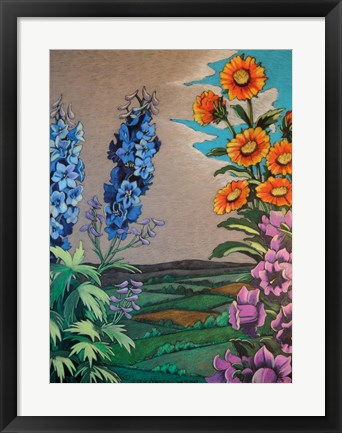 Framed Colorful Garden Landscape with Flowers Print