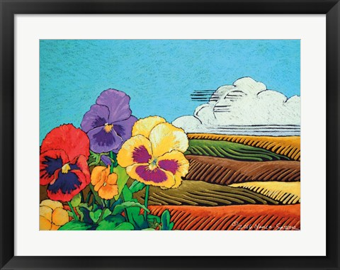 Framed Colorful Pansies in Field Print