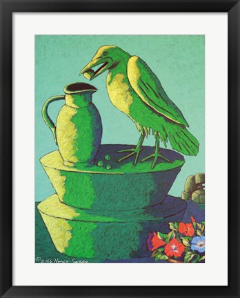 Framed Topiary Crow with Jug Print