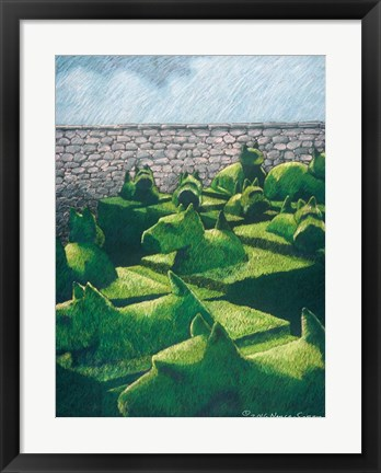 Framed Topiary Dogs and Cats Print